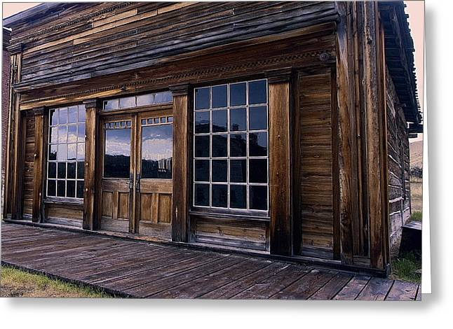 Saloons Greeting Cards - OLD WEST SALOON during a RAIN STORM Greeting Card by Daniel Hagerman