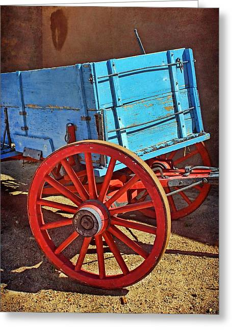 Spokes Greeting Cards - Old West Wagon Greeting Card by Nikolyn McDonald