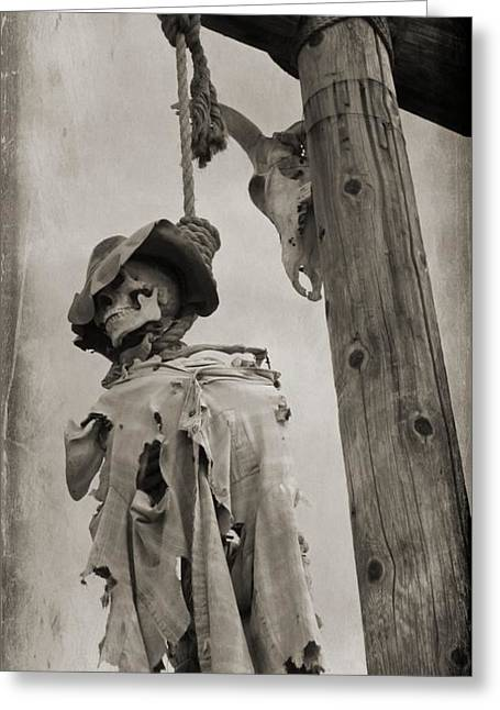Spaghetti Greeting Cards - Old Western Black and White Image Greeting Card by John Malone