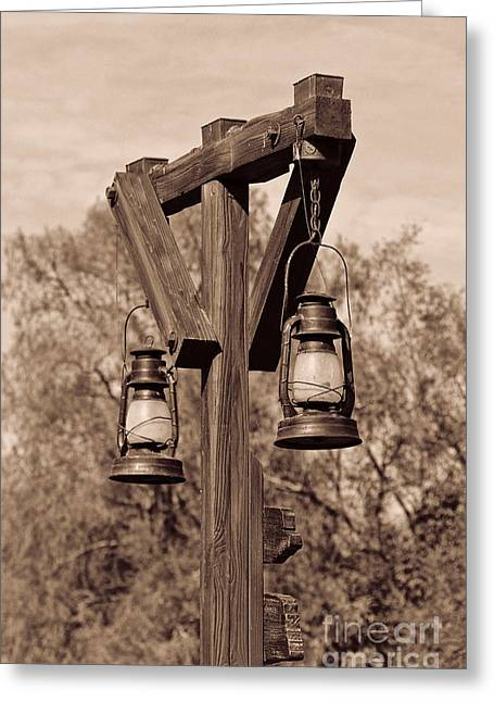 Kerosene Lamp Greeting Cards - Old Western Kerosene Lamp Post Greeting Card by Lee Dos Santos
