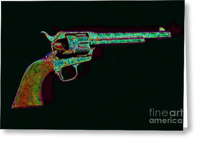 Billy The Kid Greeting Cards - Old Western Pistol - 20130121 - v1 Greeting Card by Wingsdomain Art and Photography
