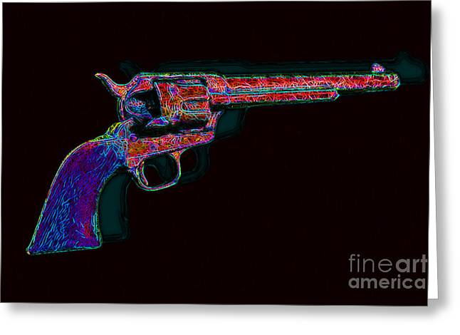 Billy The Kid Greeting Cards - Old Western Pistol - 20130121 - v4 Greeting Card by Wingsdomain Art and Photography