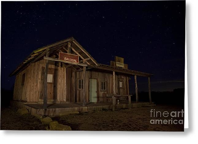 Moon Light Greeting Cards - Old western saloon Greeting Card by Keith Kapple