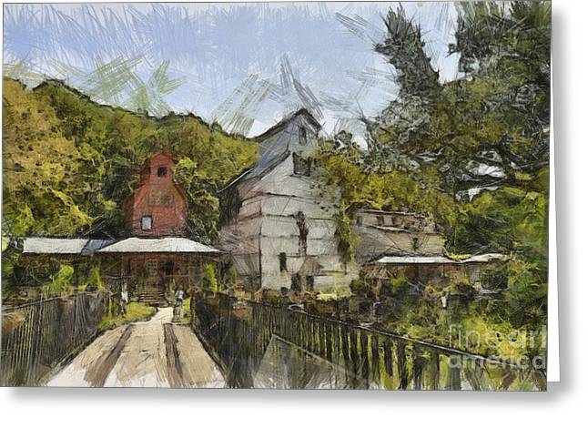 Old Barn Drawing Greeting Cards - Old Weston Grain Elevator  Greeting Card by Liane Wright