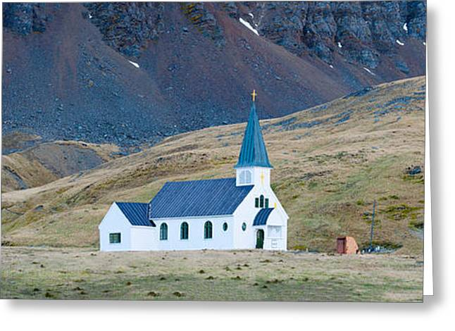 Old Photography Greeting Cards - Old Whalers Church, Grytviken, South Greeting Card by Panoramic Images