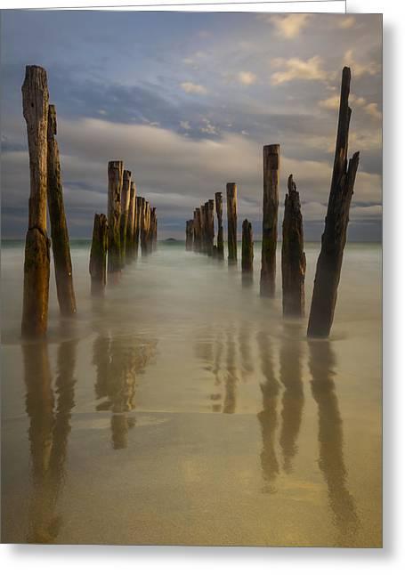 Beach Photos Greeting Cards - Old Wharf At Sunset St Clair Beach Greeting Card by Colin Monteath