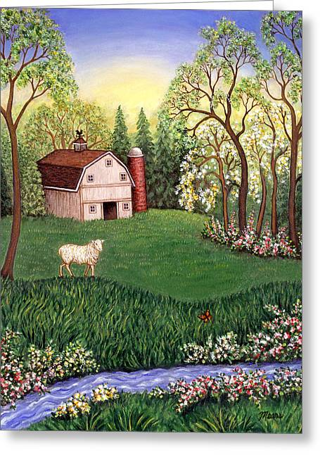 Old White Barn Greeting Card by Linda Mears