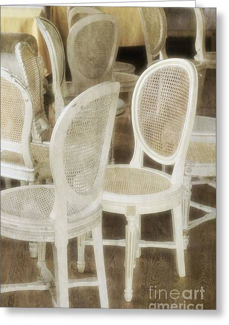 Office Space Greeting Cards - Old White Chairs Greeting Card by Carlos Caetano