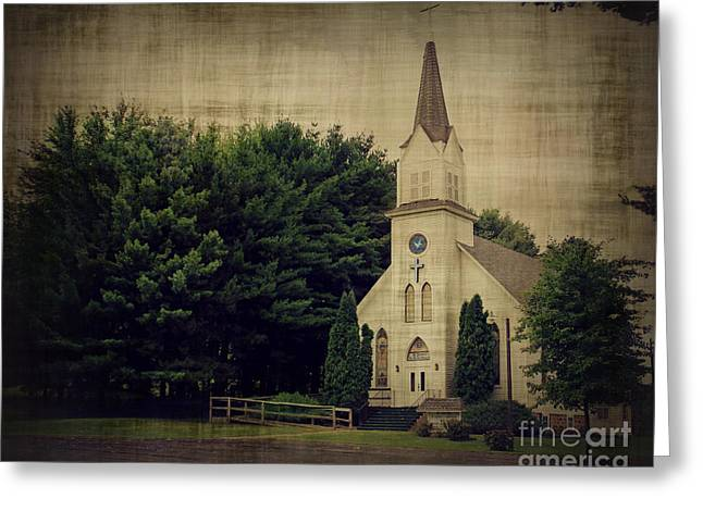 Old Country Roads Greeting Cards - Old White Church Greeting Card by Perry Webster