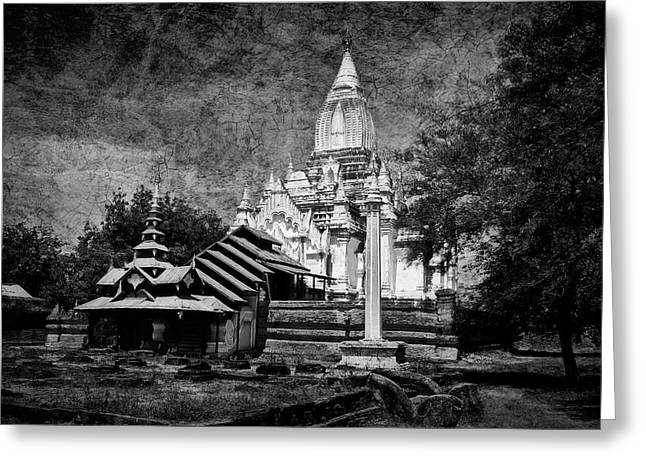 Bagan Greeting Cards - Old Whitewashed Lemyethna temple BW Greeting Card by RicardMN Photography