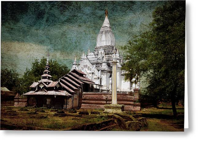 Bagan Greeting Cards - Old Whitewashed Lemyethna temple Greeting Card by RicardMN Photography