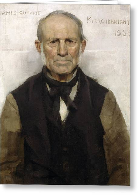 Sideburns Paintings Greeting Cards - Old Willie - The Village Worthy, 1886 Greeting Card by Sir James Guthrie