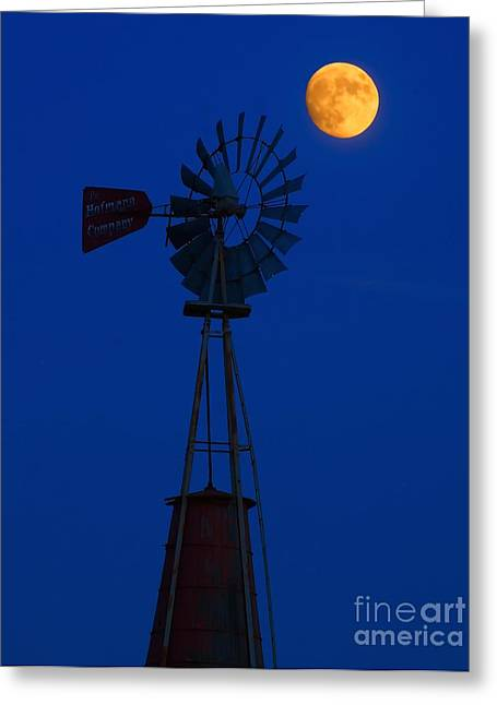 Old Mill Scenes Greeting Cards - Old Wind Mill and Moon Greeting Card by Nick Zelinsky