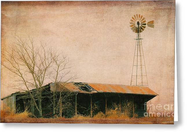 Outbuildings Greeting Cards - Old Windmill and Outbuilding Greeting Card by Anna Surface