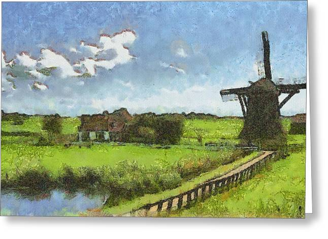 Pasture Herb Greeting Cards - Old Windmill Greeting Card by Ayse Deniz