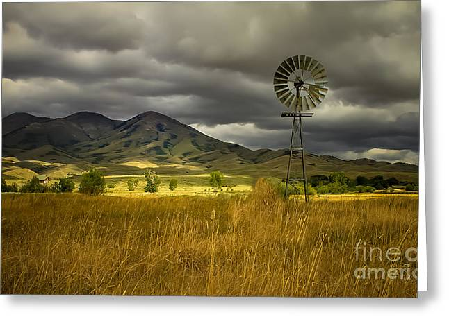 Haybale Photographs Greeting Cards - Old Windmill Greeting Card by Robert Bales
