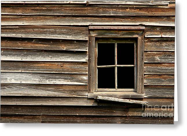 Clapboard House Greeting Cards - Old Window and Clapboard Greeting Card by Olivier Le Queinec