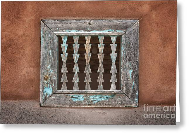 Wooden Building Greeting Cards - Old Window on Stucco Greeting Card by Nikolyn McDonald
