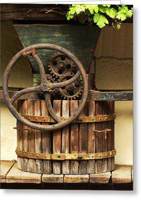 Wine Scene Greeting Cards - Old Wine Press in the Rhine River Valley Greeting Card by Greg Matchick