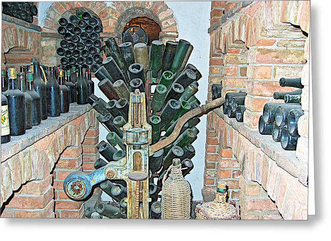 Winemaking Digital Greeting Cards - Old Winemaking Stuff in Castello di Amorosa in Napa Valley-CA Greeting Card by Ruth Hager