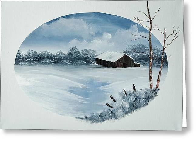 Bob Ross Paintings Greeting Cards - Old Winter Barn Greeting Card by Shannon Wells