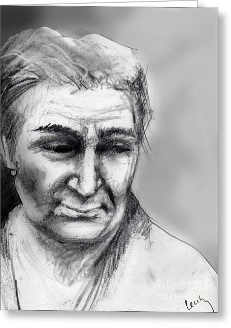 Pensive Greeting Cards - Old Woman Greeting Card by Cecily Mitchell