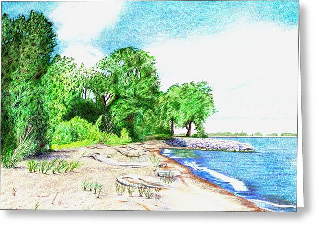 Sandy Beaches Drawings Greeting Cards - Old Woman Creek - Huron Ohio Greeting Card by Shawna  Rowe
