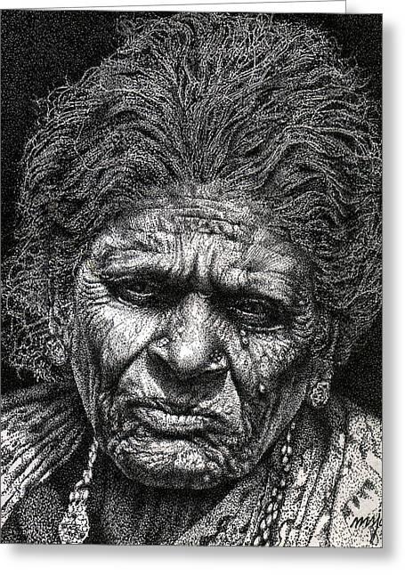 Old Woman In Sad Greeting Card by Johnson Moya