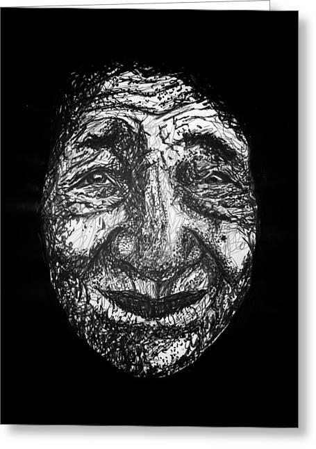 Gray Hair Mixed Media Greeting Cards - Old Woman Greeting Card by Joyce Sherwin