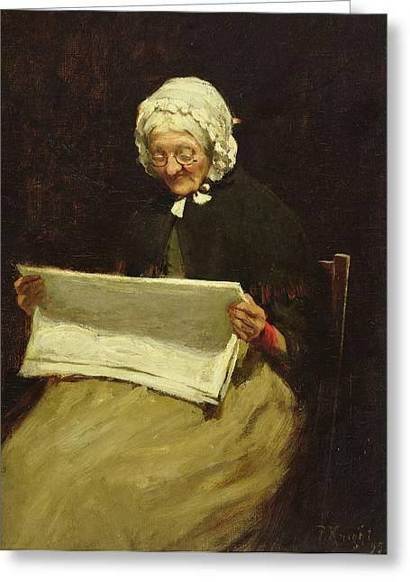 Elderly Female Greeting Cards - Old Woman Reading A Newspaper, 1895 Greeting Card by Paul Knight