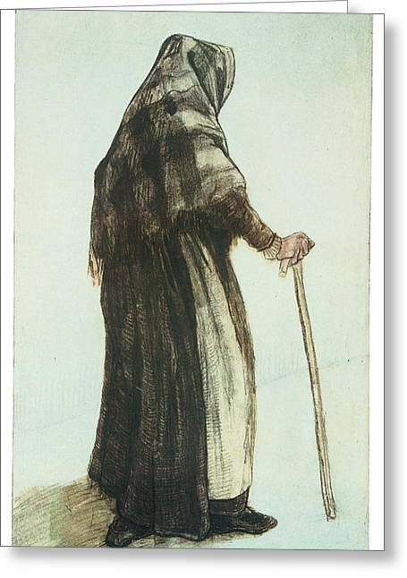 Old Woman Seen From Behind Greeting Card by Vincent van Gogh