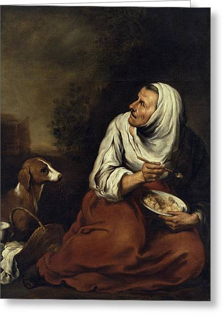 Elderly Female Greeting Cards - Old Woman With Dog Oil On Canvas See Also 160057 Greeting Card by Bartolome Esteban Murillo