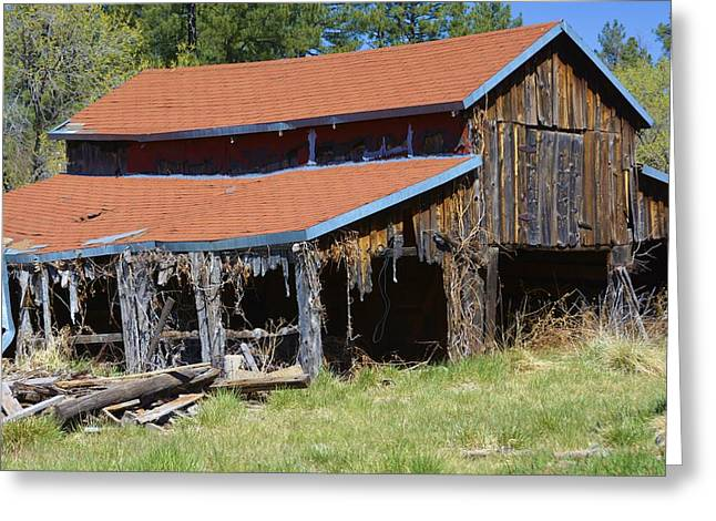 Red Roofed Barn Greeting Cards - Old Wood Barn Greeting Card by Richard Jenkins