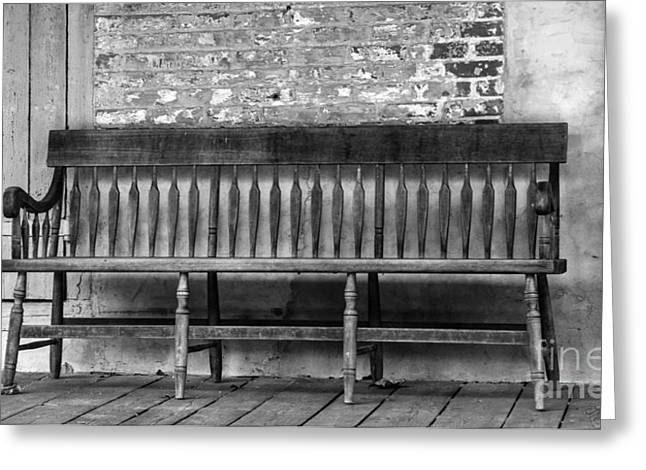 Run Down Greeting Cards - Old Wood Bench Greeting Card by Iris Richardson