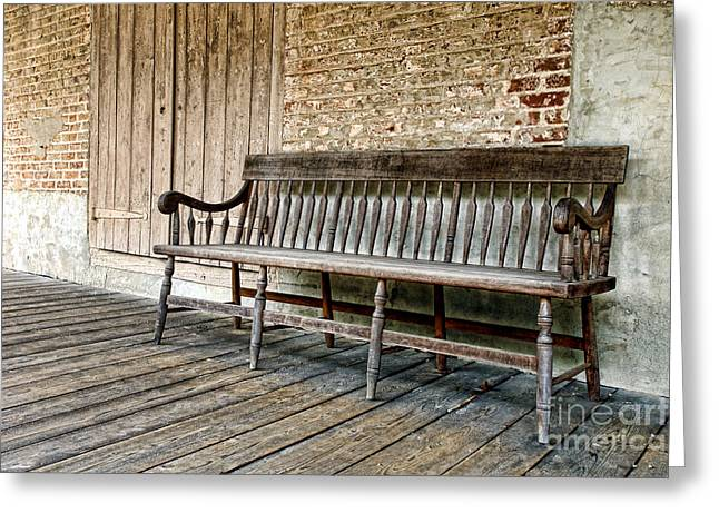 Bench Photographs Greeting Cards - Old Wood Bench Greeting Card by Olivier Le Queinec