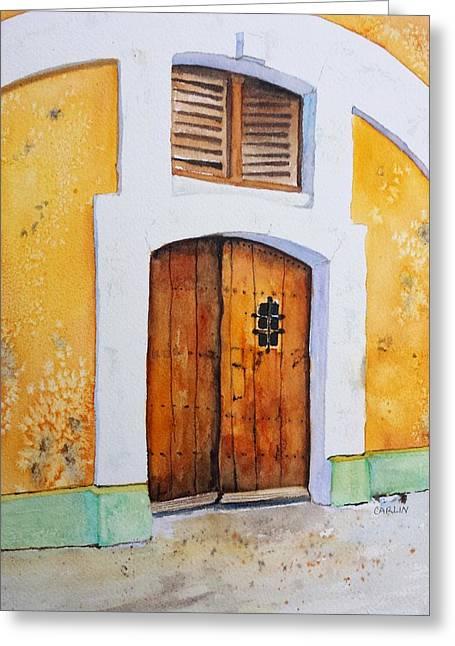 Old San Juan Paintings Greeting Cards - Old Wood Door Arch and Shutters Greeting Card by Carlin Blahnik