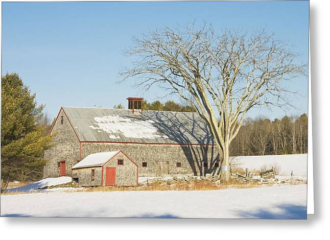 New England Snow Scene Greeting Cards - Old Wood Shingled Barn In Winter Maine Greeting Card by Keith Webber Jr