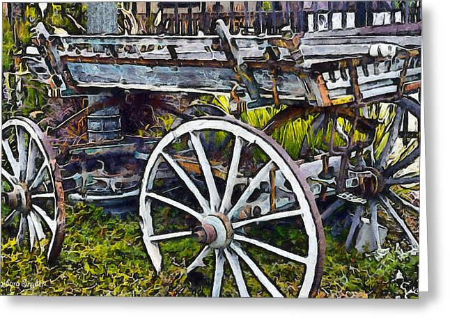 Old Relics Greeting Cards - Old Wood Wagon Digital Greeting Card by Barbara Snyder