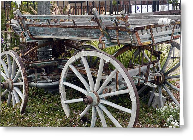 Old Relics Greeting Cards - Old Wood Wagon View 2 Greeting Card by Barbara Snyder
