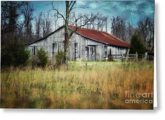 Tin Roof Digital Art Greeting Cards - Old Wooden Barn Greeting Card by Betty LaRue
