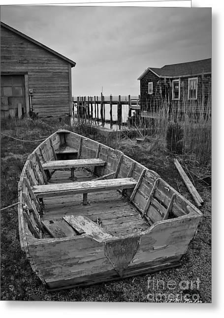Gordan Greeting Cards - Old Wooden Boat BW Greeting Card by David Gordon