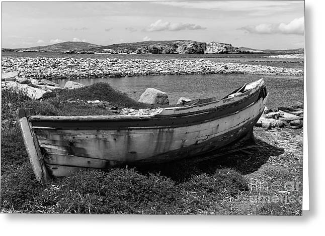 Boats On Water Greeting Cards - Old Wooden Boat on Delos mono Greeting Card by John Rizzuto