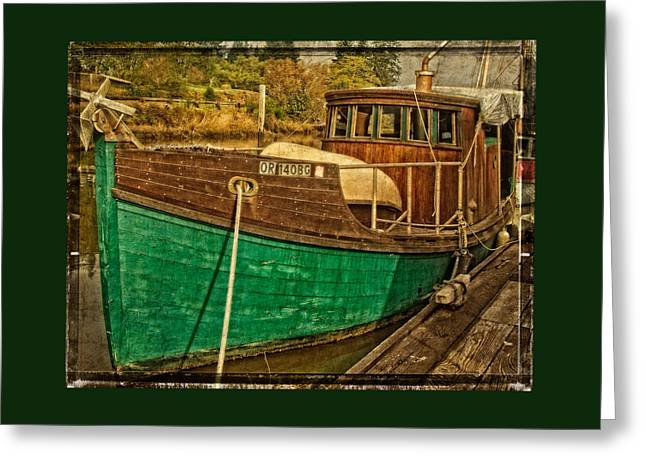 Fishing Boats Greeting Cards - Old Wooden Boat On The Yaquina Greeting Card by Thom Zehrfeld
