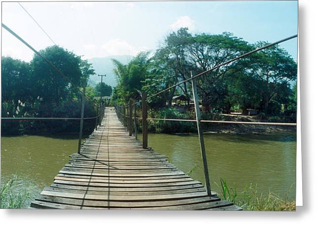 Chiang Mai Greeting Cards - Old Wooden Bridge Across The River Greeting Card by Panoramic Images