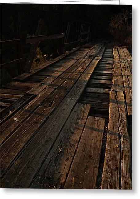 Old Roadway Greeting Cards - Old Wooden Bridge Greeting Card by Vonda Barnett