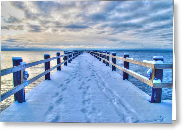 Ru Greeting Cards - Old wooden bridge with snow  Greeting Card by Lanjee Chee
