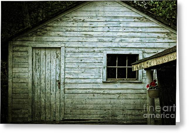 Rustic Buildings Greeting Cards - Old Wooden Building Onaping Greeting Card by Marjorie Imbeau