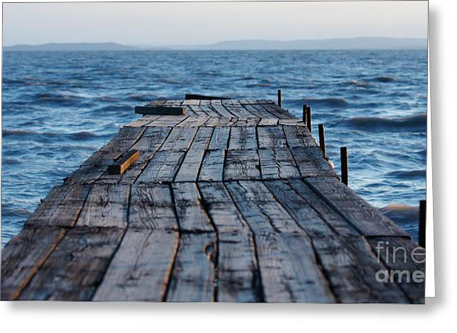 Dock Pyrography Greeting Cards - Old wooden dock Greeting Card by Victor Georgiev