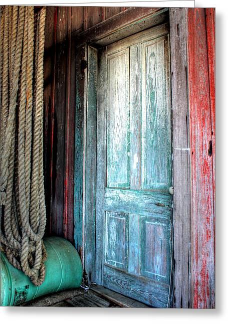 Old Wooden Door Greeting Card by Lynn Jordan