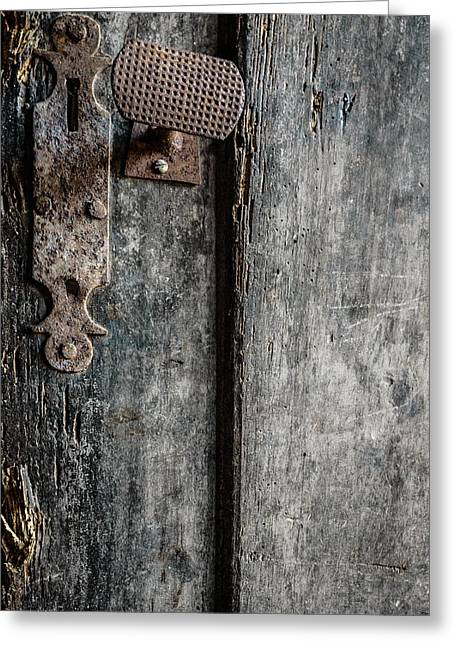 Mystery Door Greeting Cards - Old Wooden Door Greeting Card by Marco Oliveira